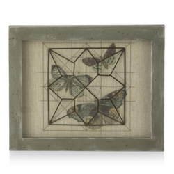decoration mural Geometric Butterflies - bois - 35 x 45 cm