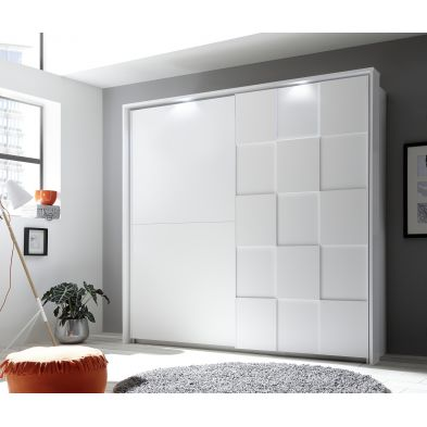 Armoire à portes coulissantes ATLANTICA BLANC + LED