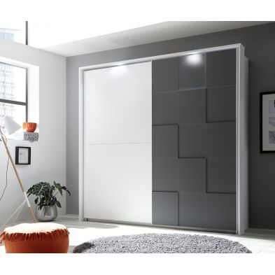 Armoire à portes coulissantes ATLANTICA GRIS + LED