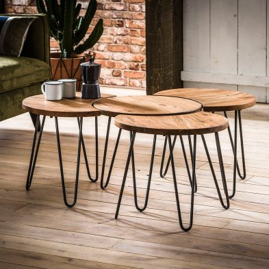 Set de 4 tables basses MARYLAND en acacia massif