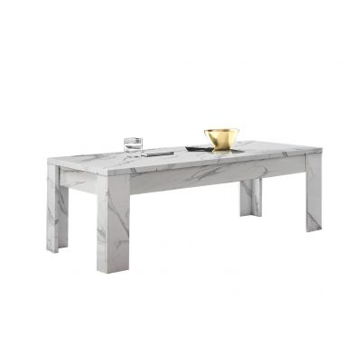 Table basse contemporaine 122 cm Marbrée Blanche