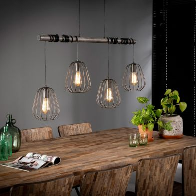 Suspension Lily de style industriel avec 4 ampoules incluses