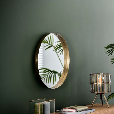 Miroir rond Eloise avec un diamètre de 50 cm possible en 2 finitions
