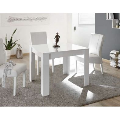 Table de salle à manger carrée 90 cm Rocket White en blanc brillant