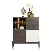 Highboard Montpellier 125 cm - 2-portes + 3-tiroirs + 4-niches (+ LED) - Henders&Hazel